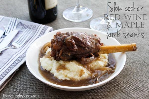 Slow Cooker Red Wine & Maple Lamb Shanks via hellolittlehouse.com