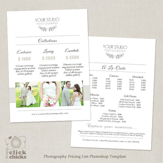 Wedding Photography Pricing List Template Package Guide Price Sheet 031 C252 Instant