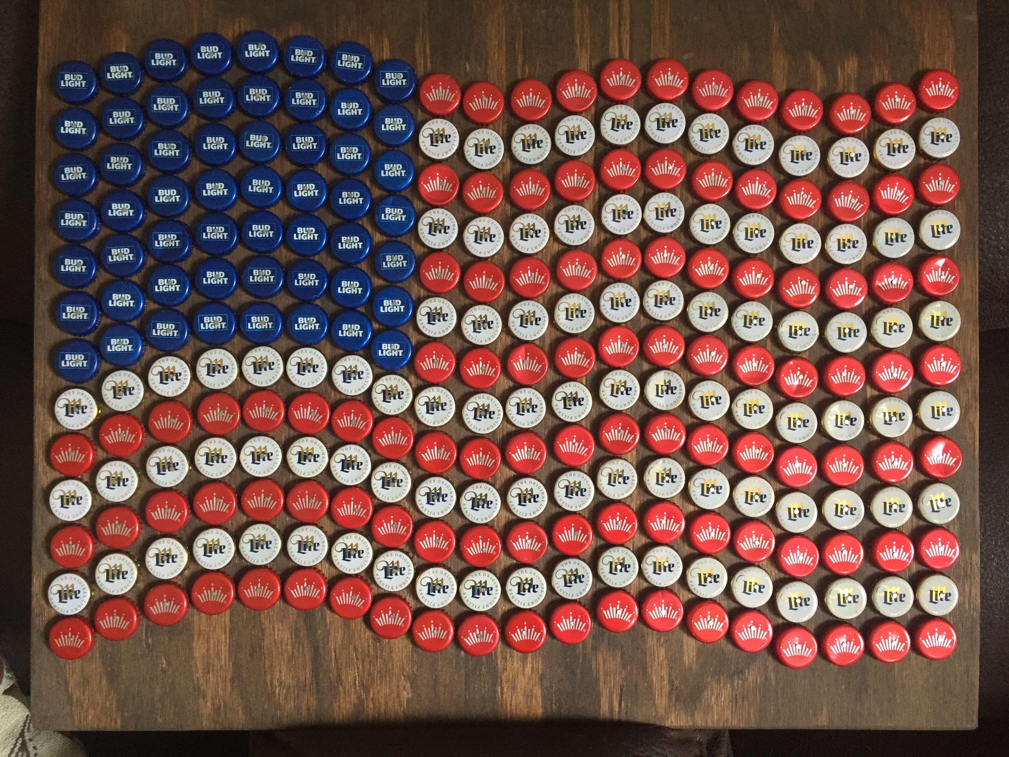 American Flag Bottle Cap Art Beer Bottle Cap Crafts Diy Bottle