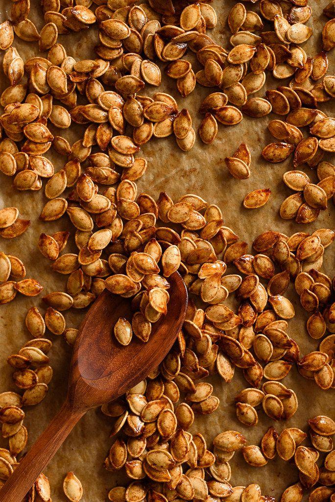 Sweet and Salty Roasted Brown Sugar Pumpkin Seeds #pumpkinseedsrecipe