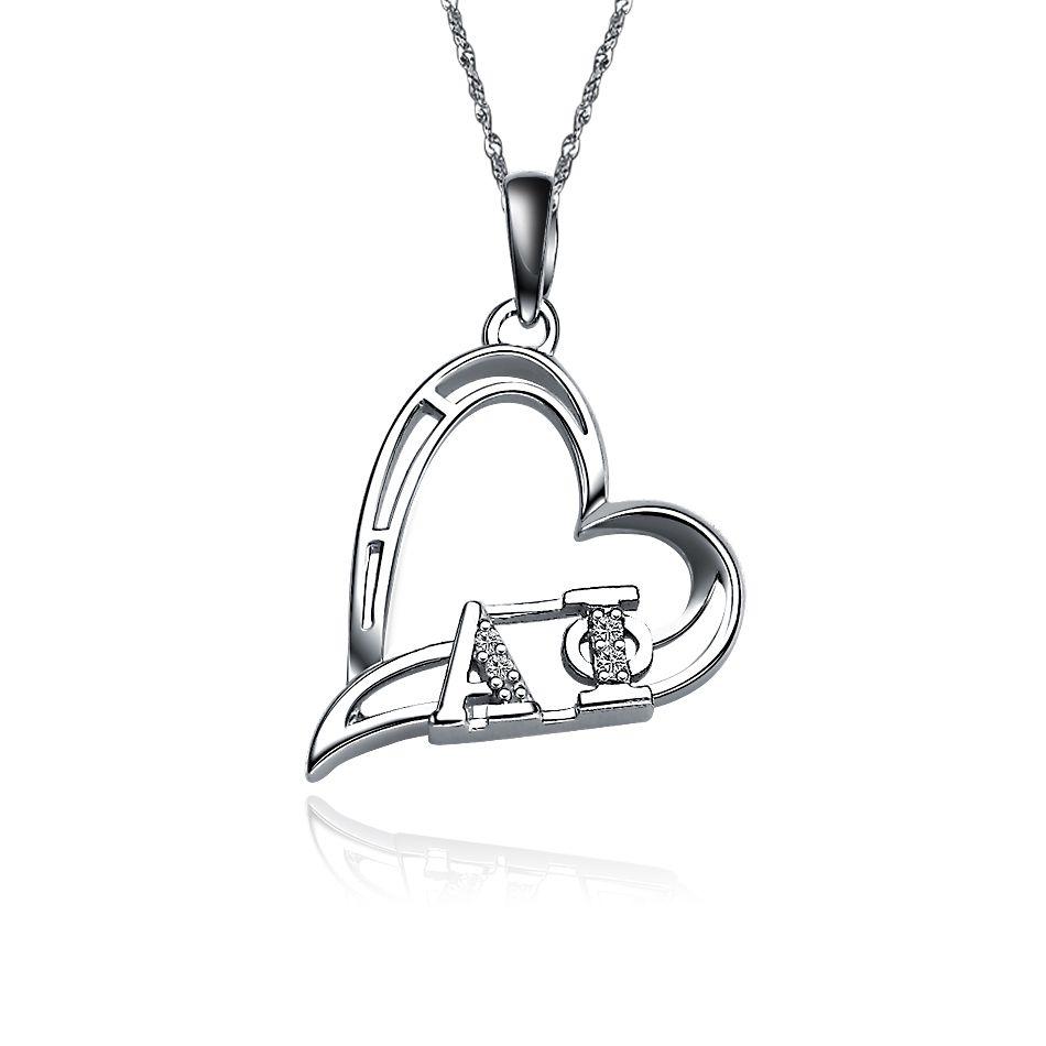 AP-P008 Alpha Phi Heart Silver Lavalier