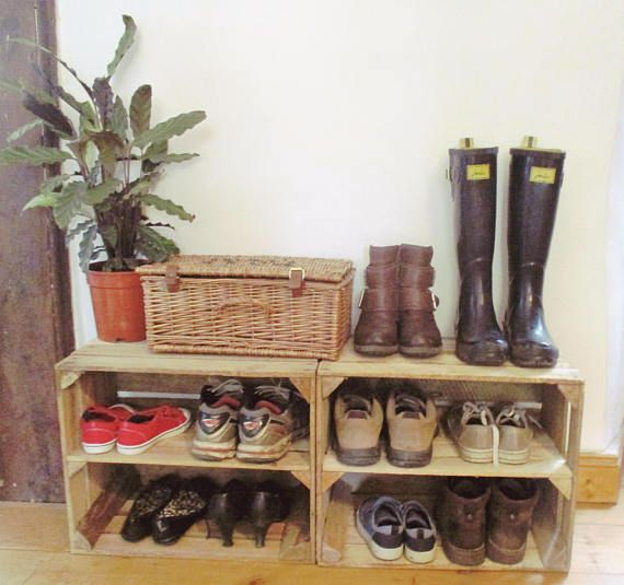 Wooden Shoe Rack Hand Made Apple Crate Rustic Storage Unit