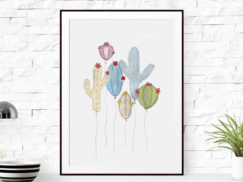 Cactus Wall Art cactus print, cactus printable, cactus wall art, botanical print