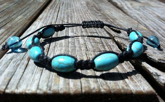 Turquoise and black macrame hemp bracelet by missholly3 on Etsy, $12.00