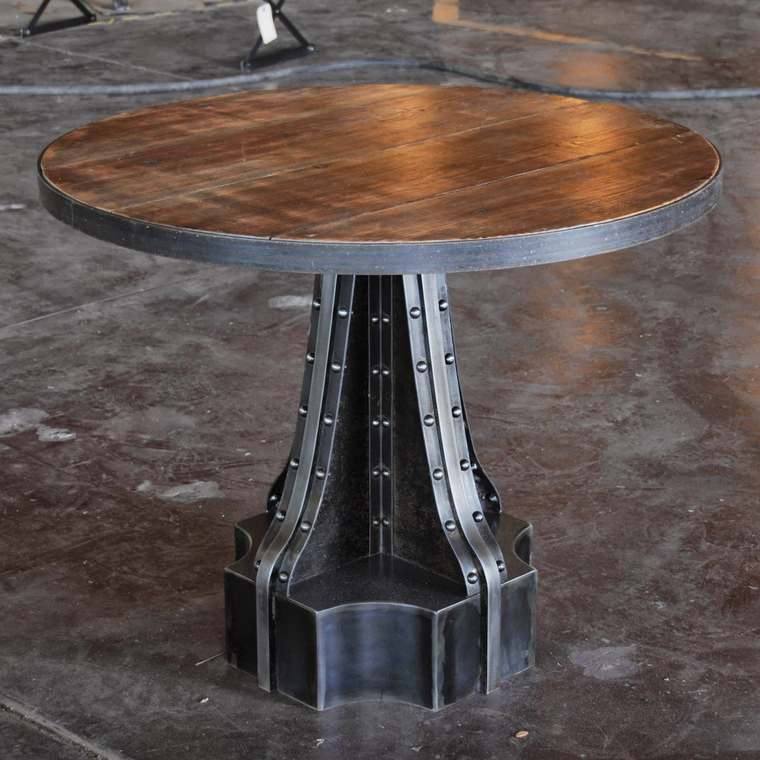 Superbe French Column Pedestal Table By Vintage Industrial In Phoenix.