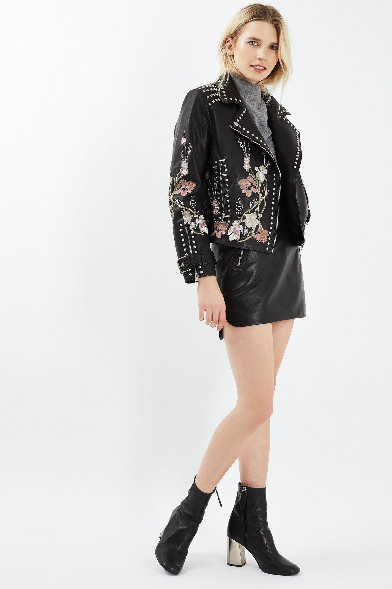 Embroidered Leather Jacket Embroidered leather jacket