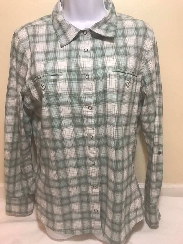 0c56bacb Eddie Bauer Sport Womens Hiking Shirt Vented Teal Check Front Pockets Size  Large #fashion #clothing #shoes #accessories #womensclothing #activewear  (ebay ...