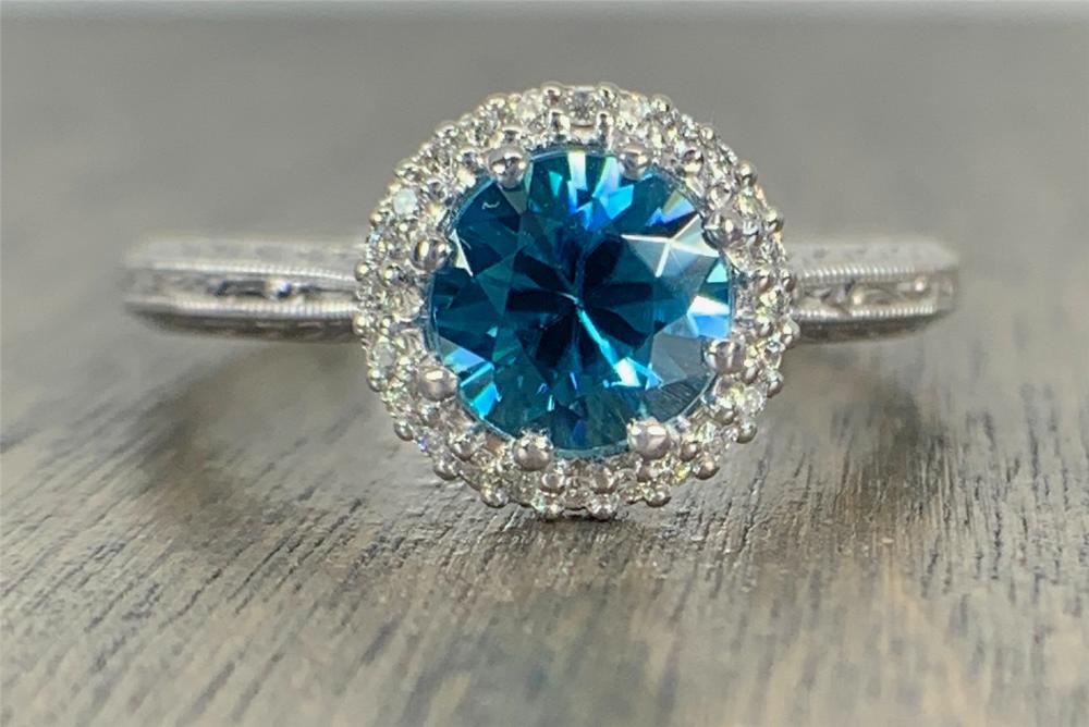 Tacori Platinum, Diamond and Blue Zircon Engagement Ring