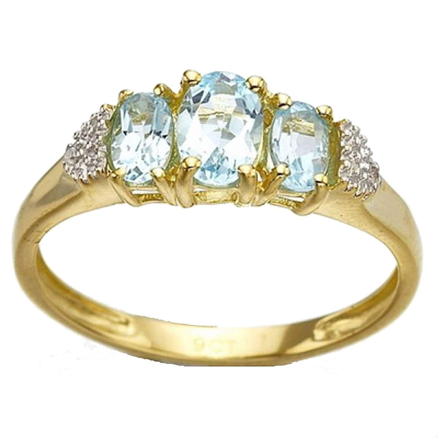 d455b4bb39b SUOHUAN Jewelry Three Stones Oval Blue Created Aquamarine Yellow Gold  Filled Halo Engagement Promise Wedding Ring Band for Women Size 6 to 10     Wonderful ...