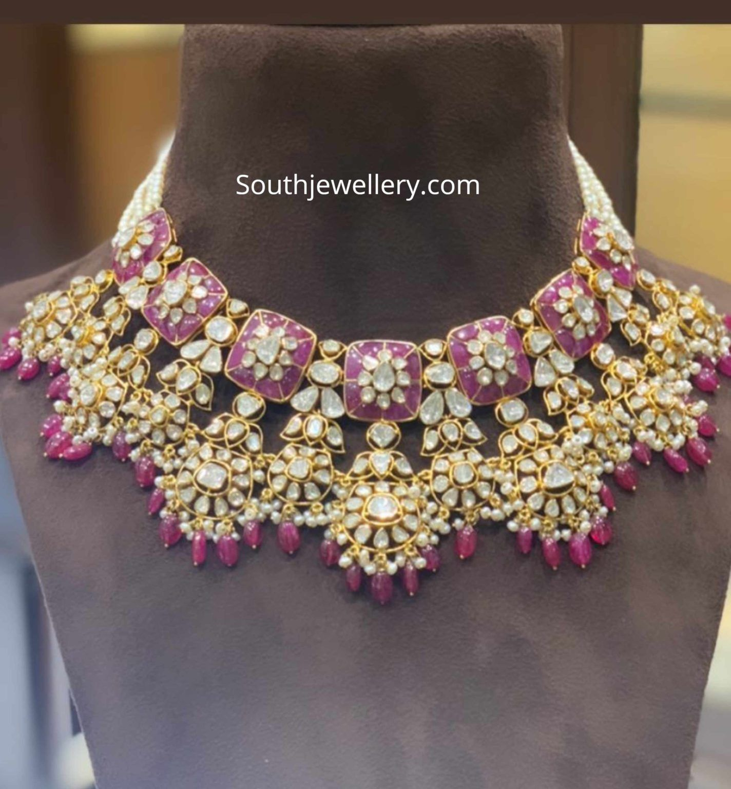 Polki Diamond And Ruby Necklace In 2020 22 Carat Gold Jewellery Ruby Necklace Necklace Designs