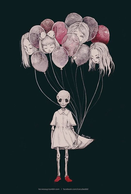 balloon heads . faceless skull . little girl . drawings . Amazing Illustrations by Sai