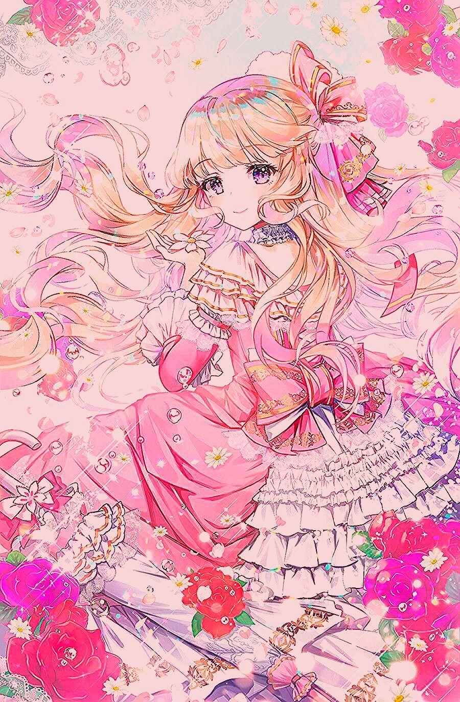 Girl Blonde Hair Pink Eyes Anime Princess Anime Friend Anime
