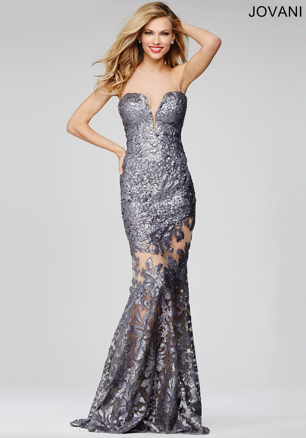 Radiant floor length metallic mermaid dress features a sweetheart