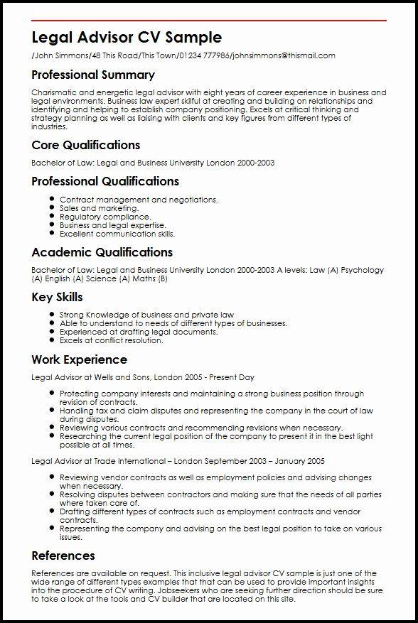Core Qualifications Resume Examples Luxury Legal Advisor Cv Sample