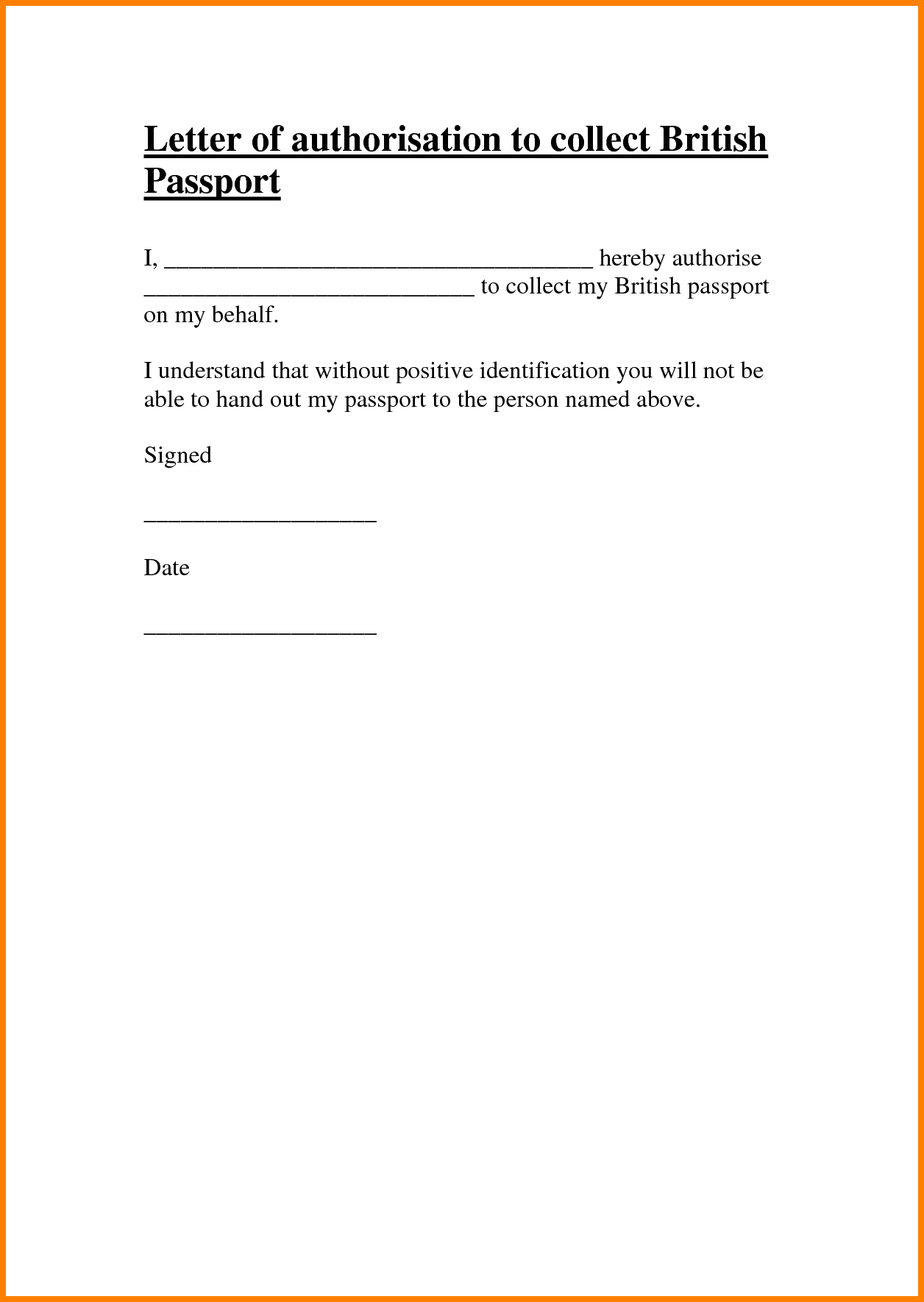 Authorization Letter Collect Passport Ledger Paper For Collection