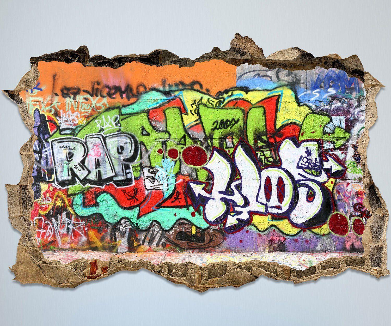 3D Wandsticker Graffiti 2 Aufkleber Mauerdurchbruch   Cooles Wandtattoo Im  Graffiti Style. Perfekt Zur