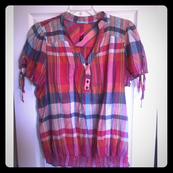 Plaid colored 3 button top banded/elastic bottom Plaid colored 3 button top banded/elastic bottom. Worn once. Very light weight and comfy Pure Energy Tops Blouses