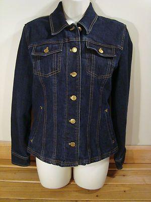 Womens Jones New York Signature Denim Jean Jacket 6 Dark
