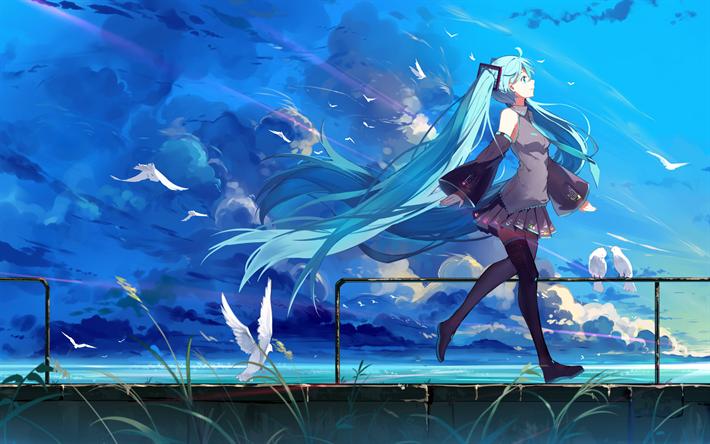 Download Wallpapers Hatsune Miku Birds Manga Anime Characters Vocaloid Hd Anime Wallpapers Hatsune Miku Anime Wallpaper