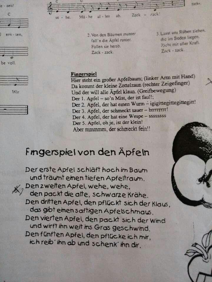 Fingerspiel Von Den äpfeln Fingerspiele Und Lieder
