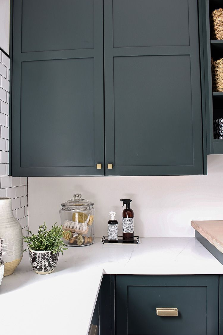 The Laundry Dog Room Dark Green Cabinets Layered On Classic Black White Design The House Of Silver Lining Painted Kitchen Cabinets Colors Dark Green Kitchen Blue Green Kitchen