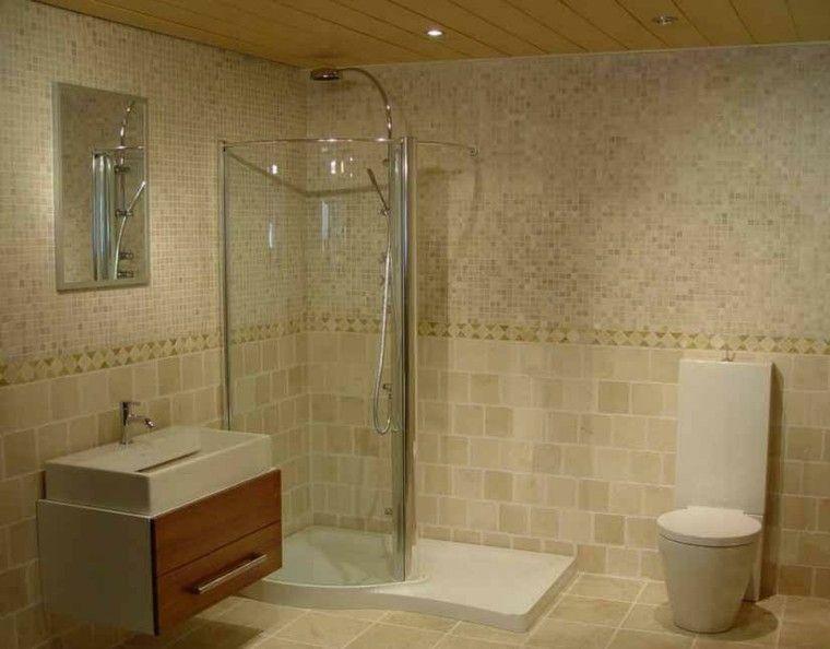 Ba o peque o con azulejos modernos color beige armarios - Azulejos para cocina modernos ...