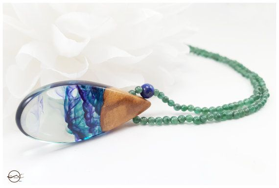 Blue green and purple swirled resin necklace by CutBranchJewelry