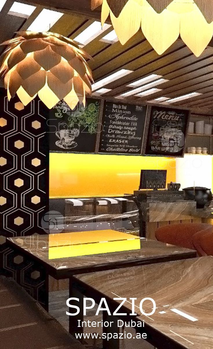 Cafe decor and interior design in small space of Dubai mall. | cafe ...