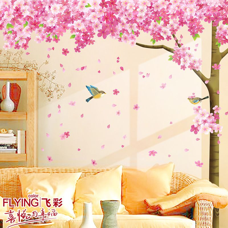 Aliexpress Com Buy Cherry Blossom Tree Wall Decal Vinyl Stickers Tv Background Wall Sofa Background Large Deco Tree Wall Decal Large Decor Vinyl Wall Decals