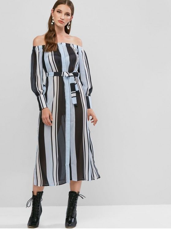 Off Shoulder Stripes Cover Up Midi Dress   MULTI-A 5