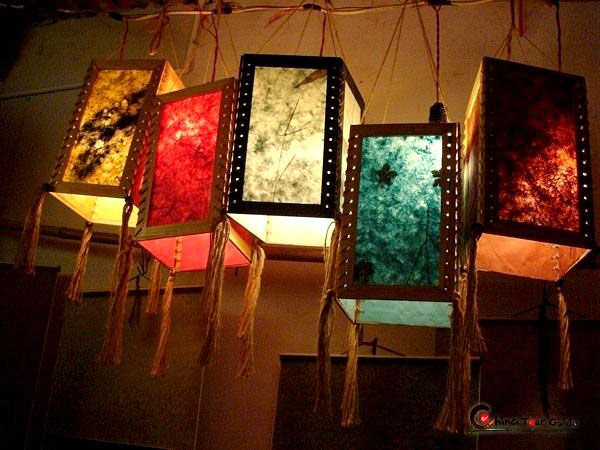 Colorful lanterns made from the paper based on traditional paper