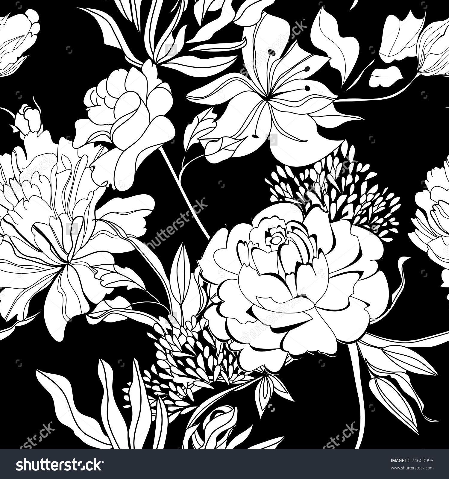 Decorative Seamless Wallpaper With White Flowers On Black Background 库存矢量插图 74600998 Shutterstock
