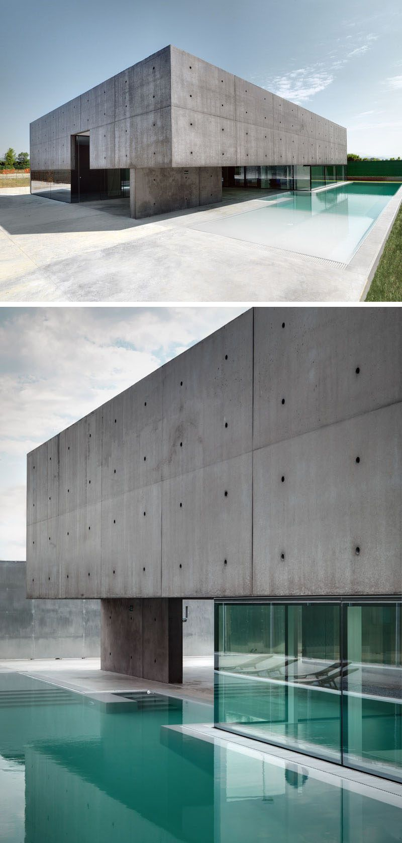 Modern House Exteriors Made From Concrete  Blue pool Concrete