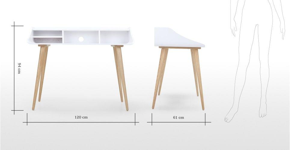 Esme un bureau blanc et frêne nyc apartment desk white