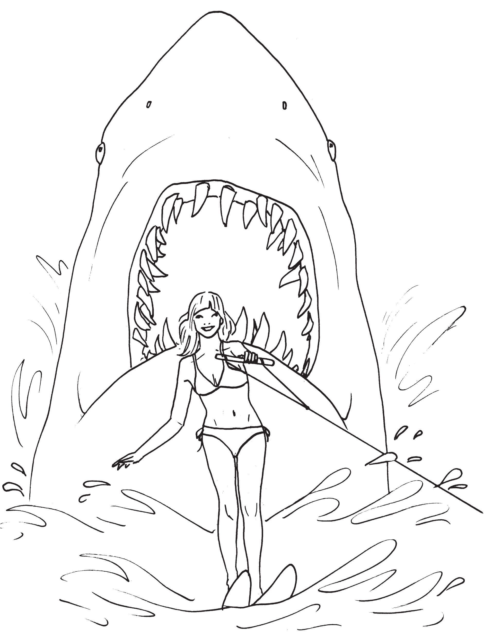 Fantastic Great White Shark Attack Coloring Page Shark Coloring