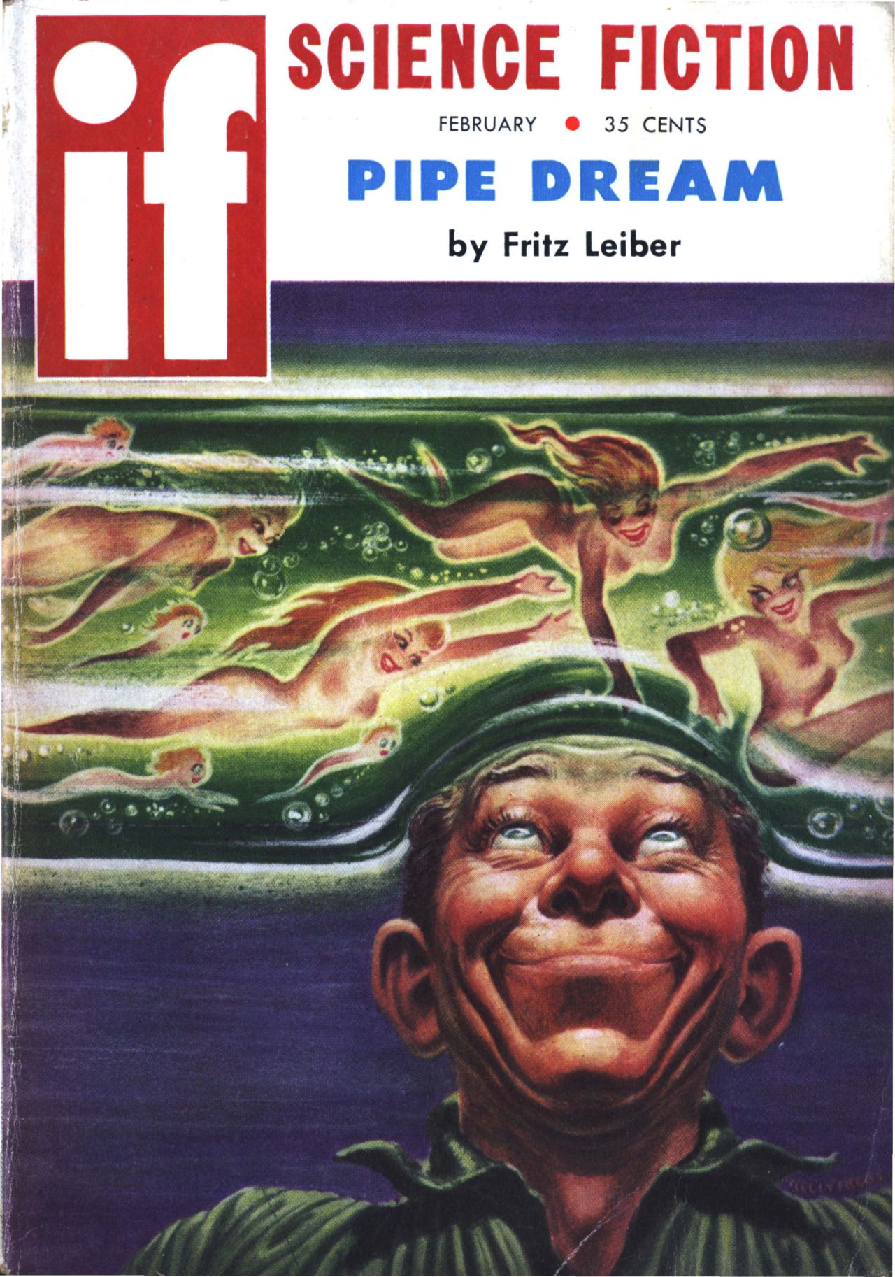 """Ifvol 9 no 2, February 1959. Cover art by Kelly Freas illustrating""""Pipe Dream"""" by Fritz Leiber."""