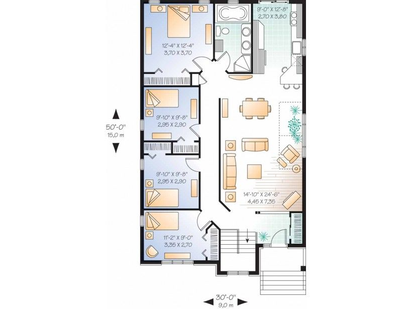 Traditional Style House Plan 4 Beds 1 Baths 1433 Sq Ft Plan 23 2336 Cottage Floor Plans 30x50 House Plans House Plans