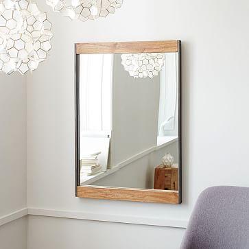 West Elm Industrial Wall Mirror Mango Wood Bathroom