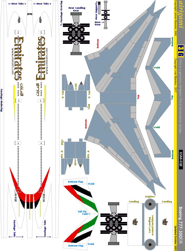 Emirates Boeing 777-300ER paper model | Airigami ...