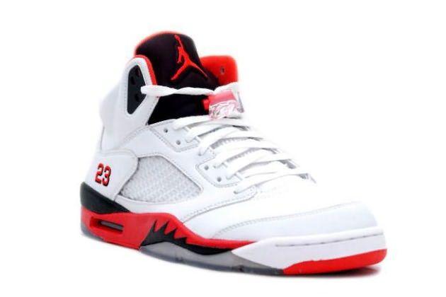Nike Air Jordan 5 V Retro Blanc Rouge Feu Noir Hommes Authentique, nouveau