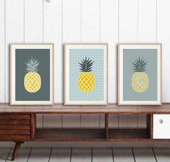 3 affiches ananas avec motifs g om triques tendances par for Deco tendance geometrique