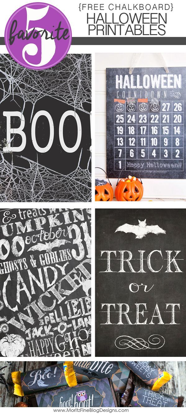 Chalkboard Halloween free Printables are cute, easy and simple - cute homemade halloween decorations