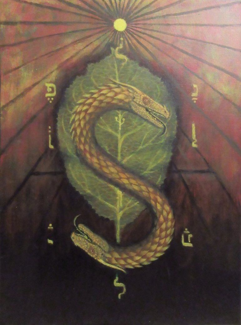 Two Headed Serpent By Chipsastigma Serpent Headed Canvas