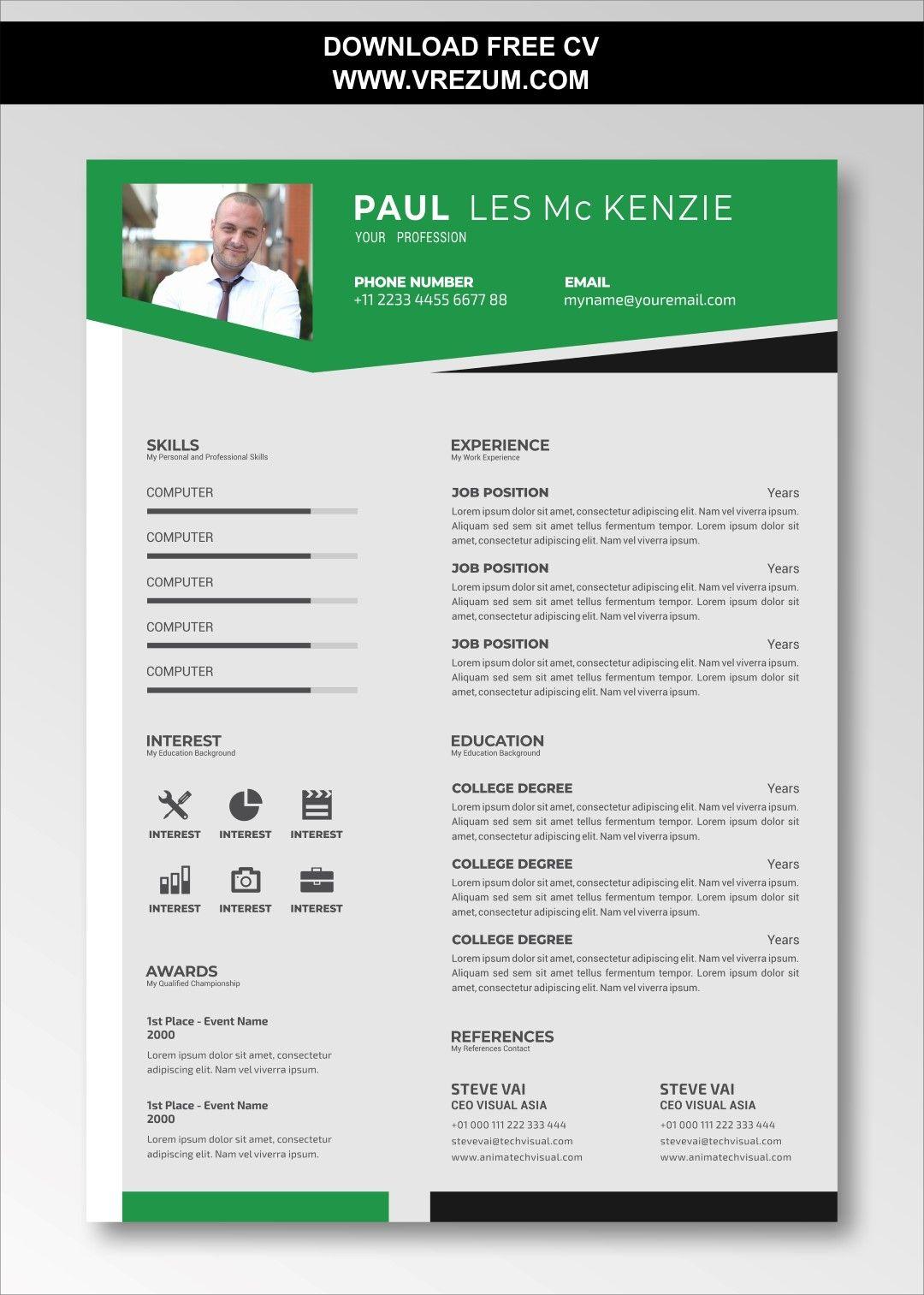 Editable Free Curriculum Vitae Template