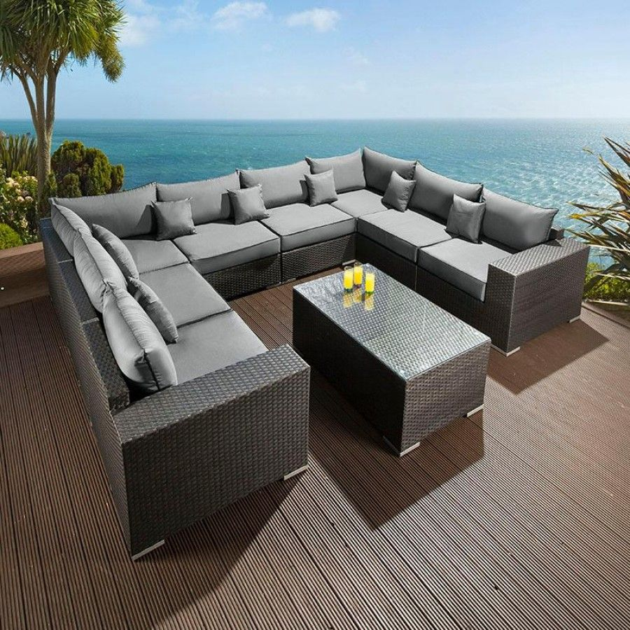 Luxury Outdoor Garden U Shape 9 Seater Sofa Group Black Rattan Wicker Corner Sofa Set U Shaped Corner Sofa Outdoor Sofa