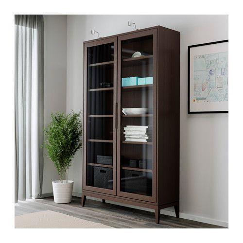 """REGISSÖR Glass-door cabinet  - IKEA, brown, $349.  Width: 46 1/2 """" Depth: 15 """" Height: 79 7/8 """" Max load/shelf: 66 lb"""