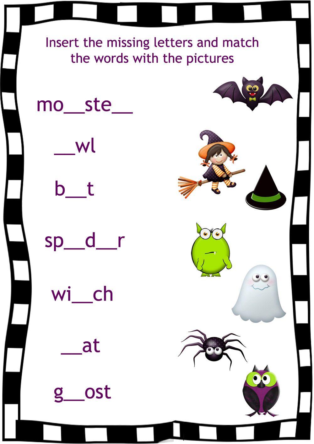 Halloween worksheet for kids | Schule | Pinterest | Halloween ...