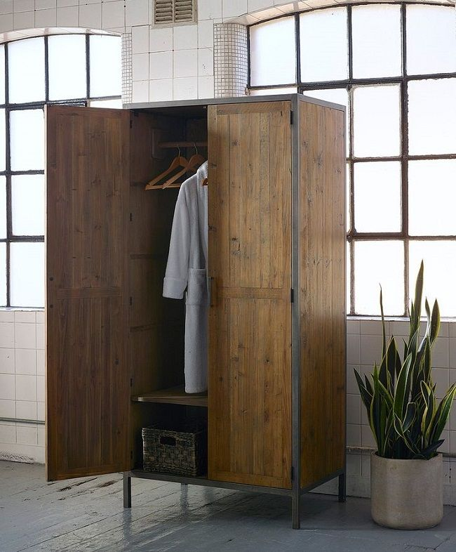 Industrial style bedroom furniture free standing wardrobe fleur home decor we adore for Industrial look bedroom furniture