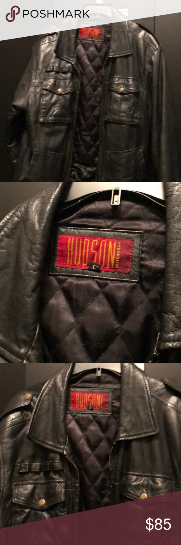 Men S Large Black Hudson Leather Jacket Leather Jacket Jackets Black Leather Jacket [ 1740 x 580 Pixel ]