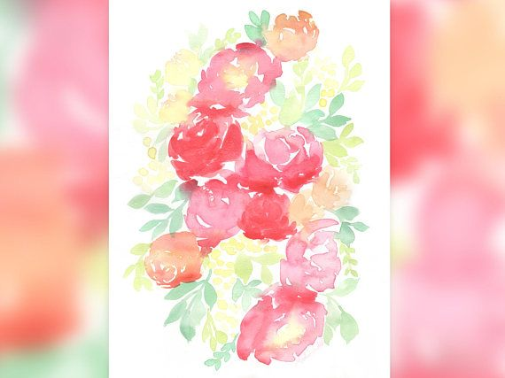 Watercolour Flower Original Painting Red Blooms With Wattle